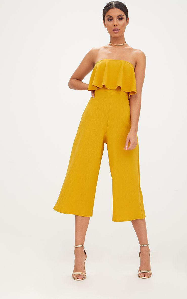 Mustard Bardot Double Layer Culotte Jumpsuit