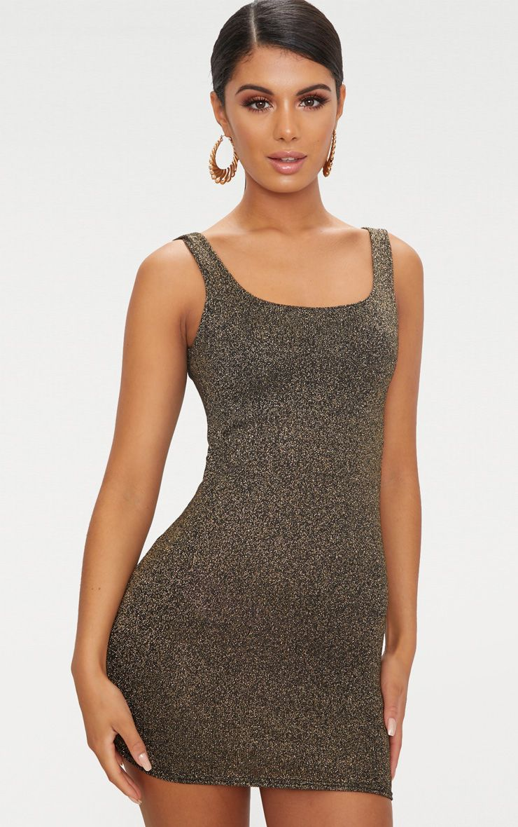 Gold Glitter Scoop Back Bodycon Dress