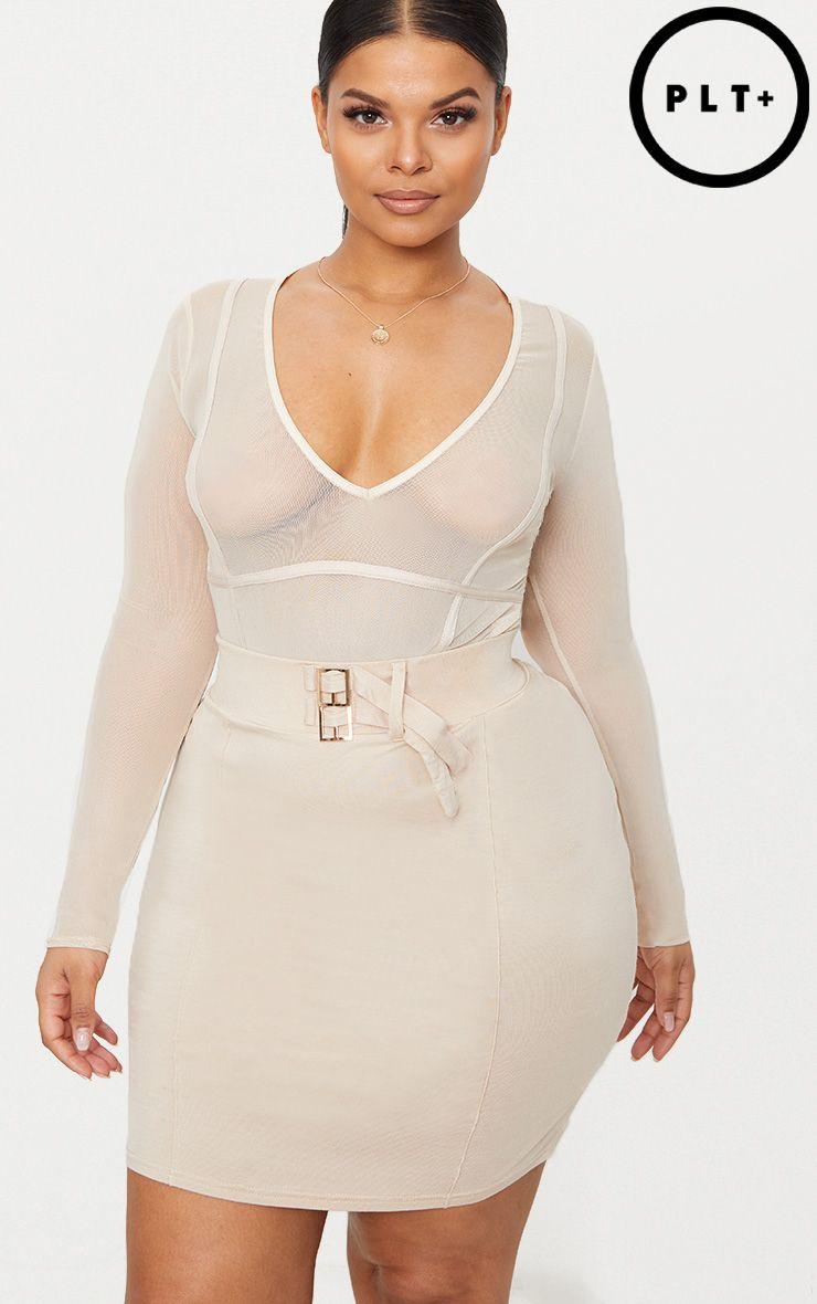 PLT Plus- Body-string en mesh nude à détail coutures