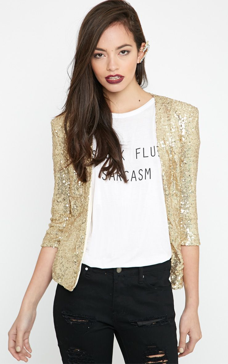 Chaim Gold Sequin Cropped Blazer  1