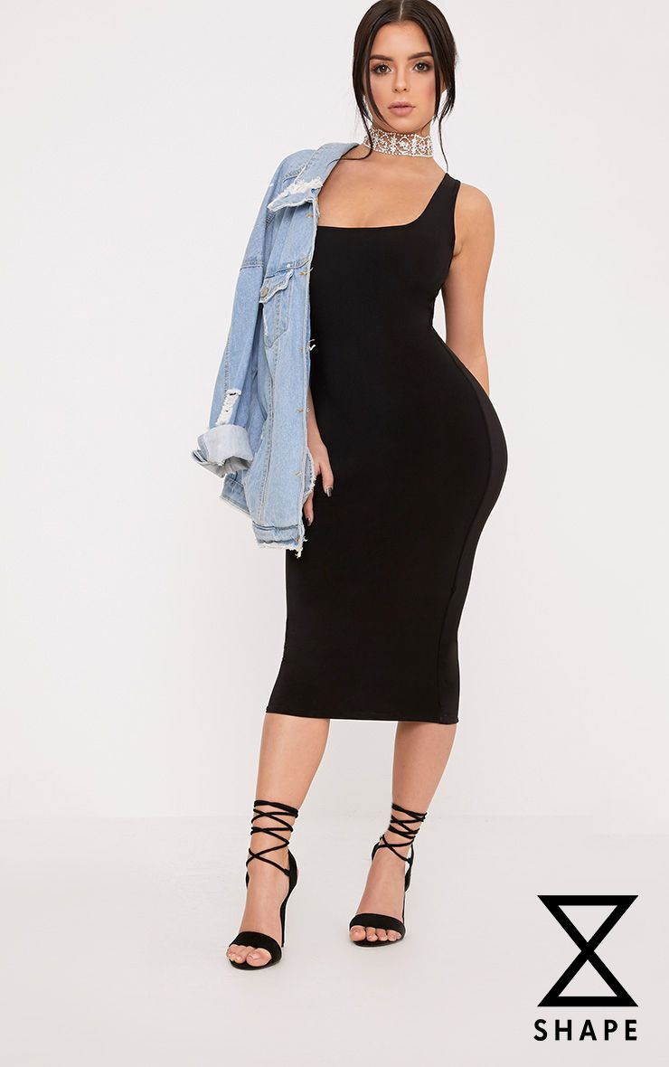 Shape Abrielle Black Slinky Midi Dress