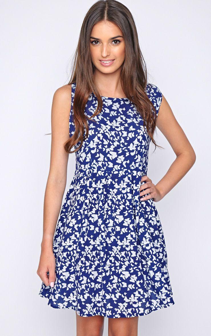 Amy Blue Butterfly Print Dress 1