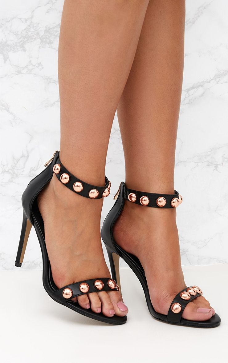 Black PU Round Studded Heeled Sandals