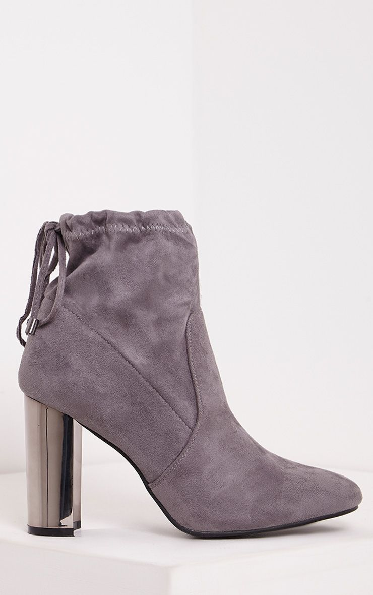 Christal Grey Faux Suede Chrome Heel Ankle Boots