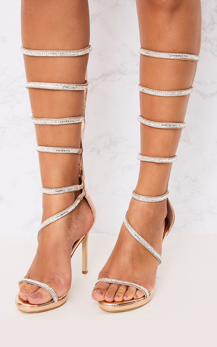 Mildra Rose Gold Diamante Long Strappy Heels