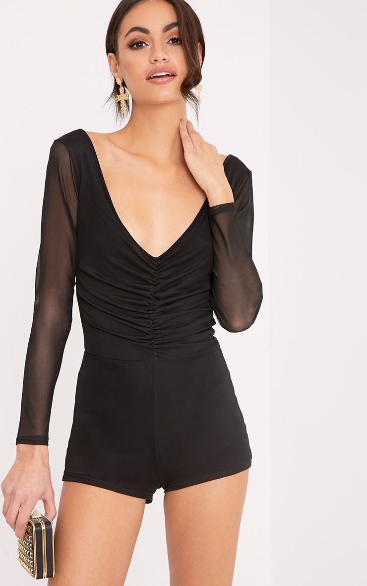 Cyndi Black Mesh Ruched Playsuit