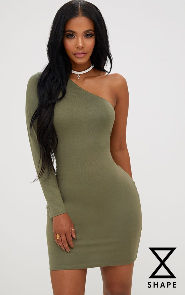 Shape Khaki One Shoulder T Shirt Dress