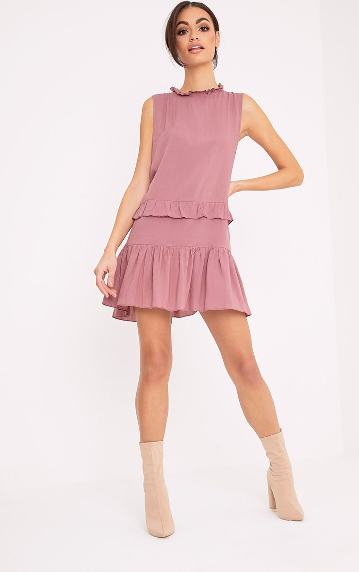 Imogen Rose High Neck Frill Swing Dress