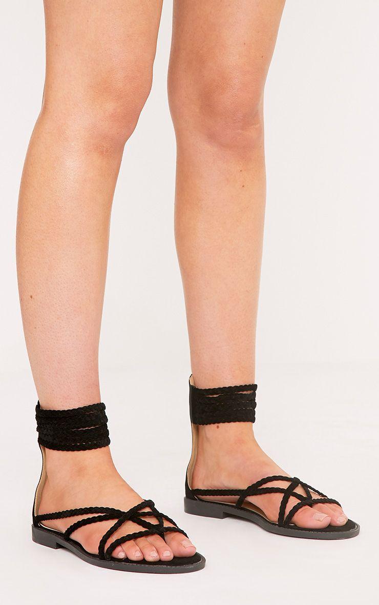 Luanne Black Plaited Strappy Sandals