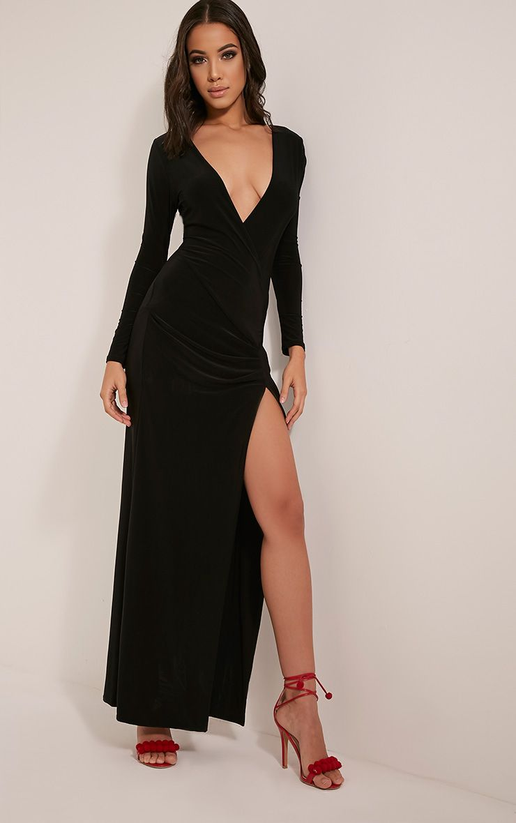 Aubreanna Black Wrap Front Ruched Maxi Dress