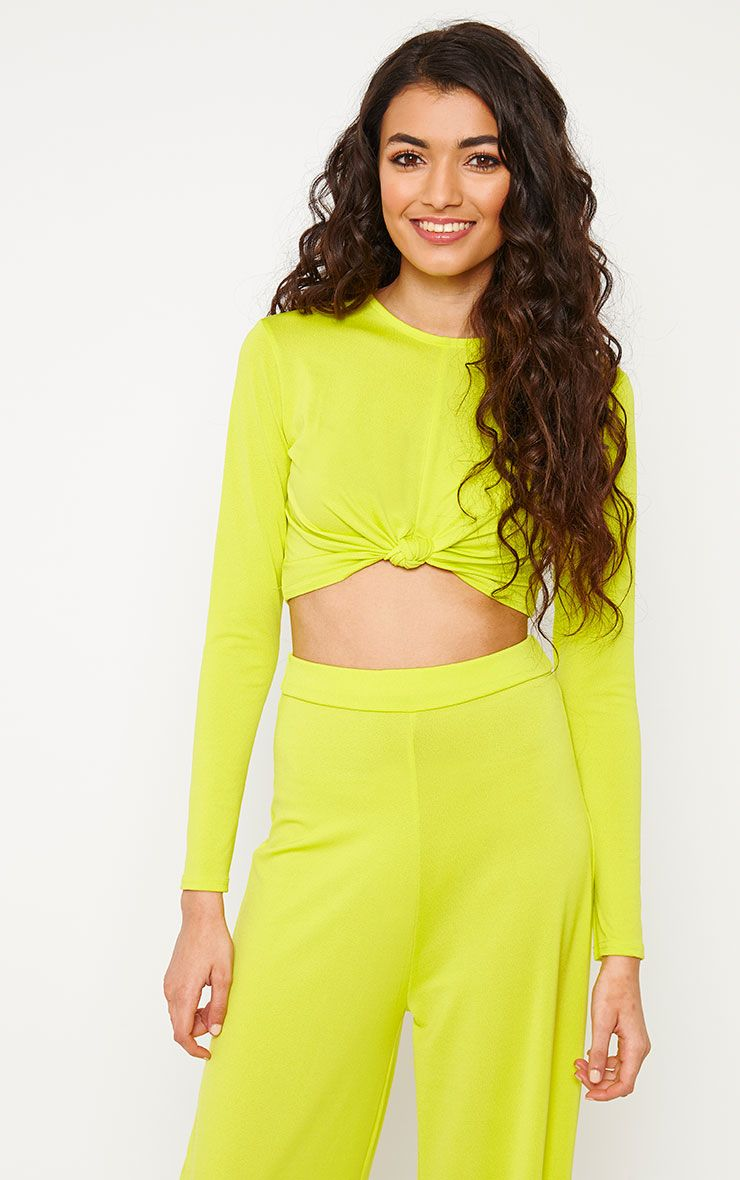 Zafia Lime Slinky Knot Front Crop Top 1