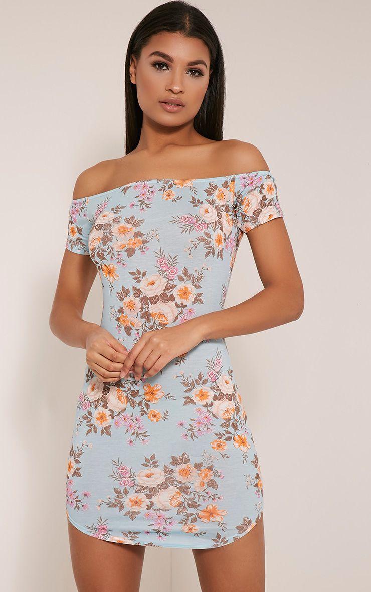 Nia Blue Floral Bardot Bodycon Dress 1