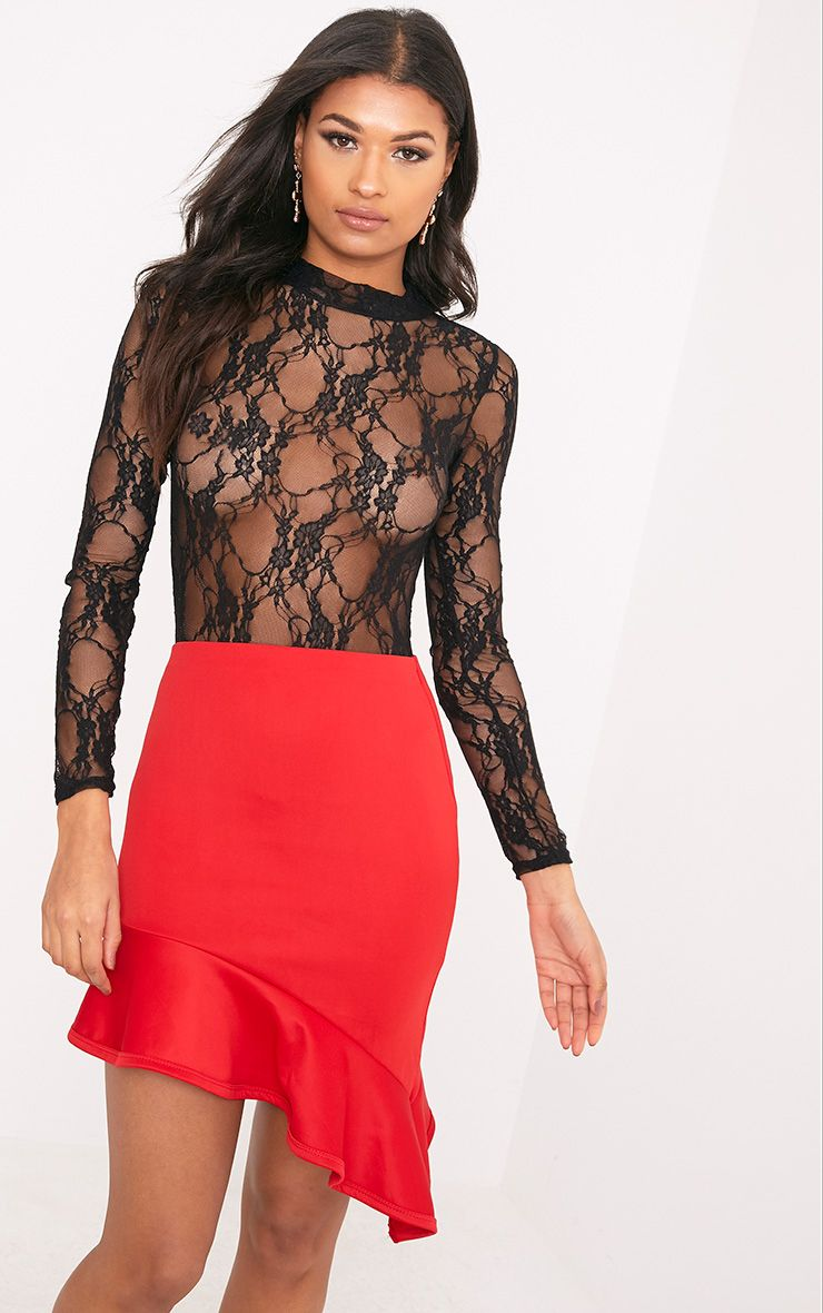 Esmea Black Lace Longsleeve Thong Bodysuit