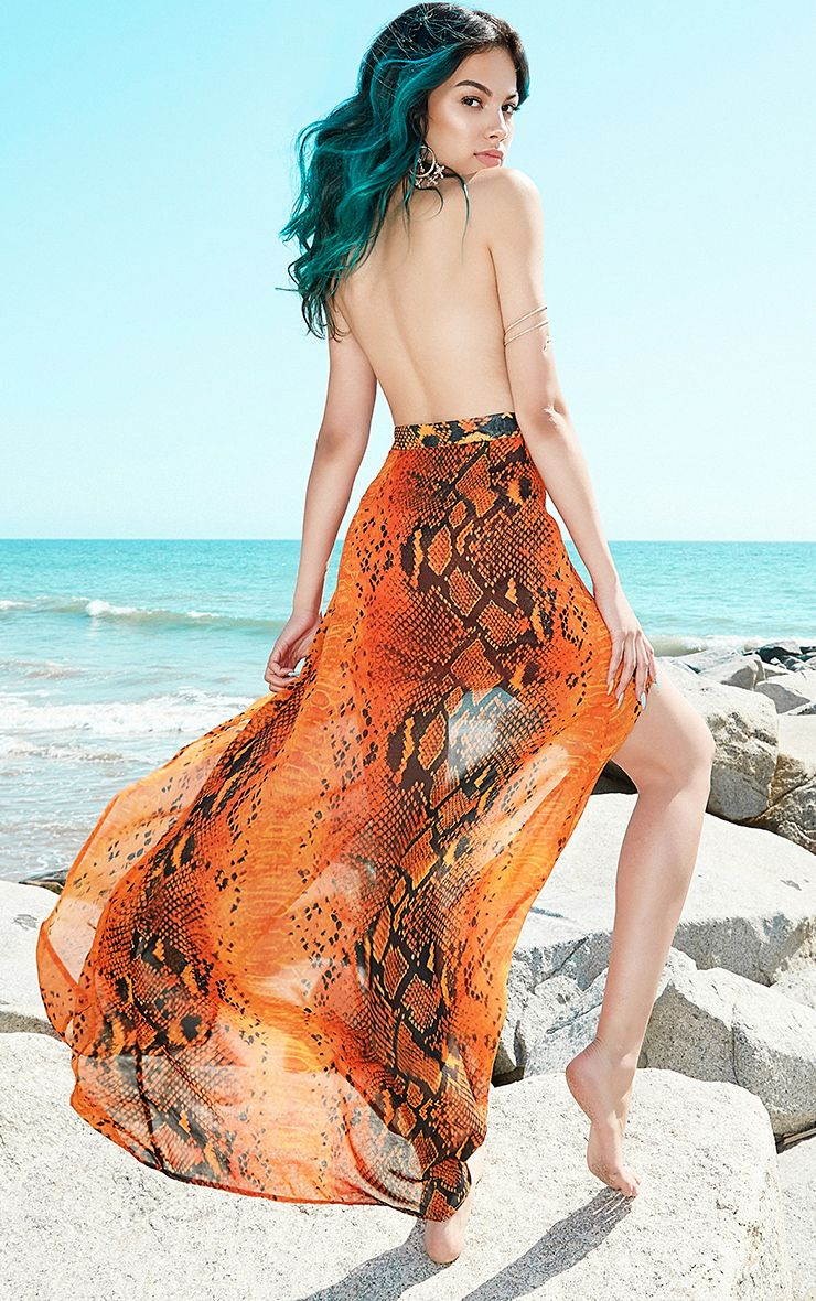 Leala Orange Snake Print Maxi Dress
