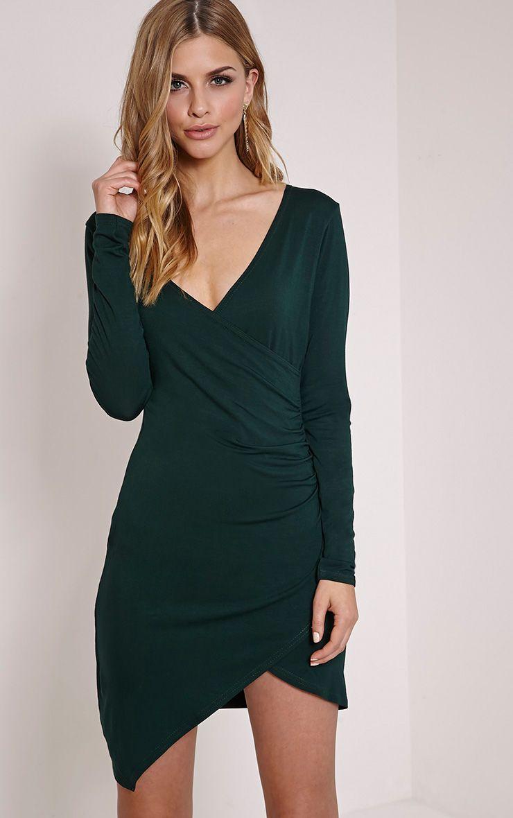Kendi Bottle Green Wrap Mini Dress 1