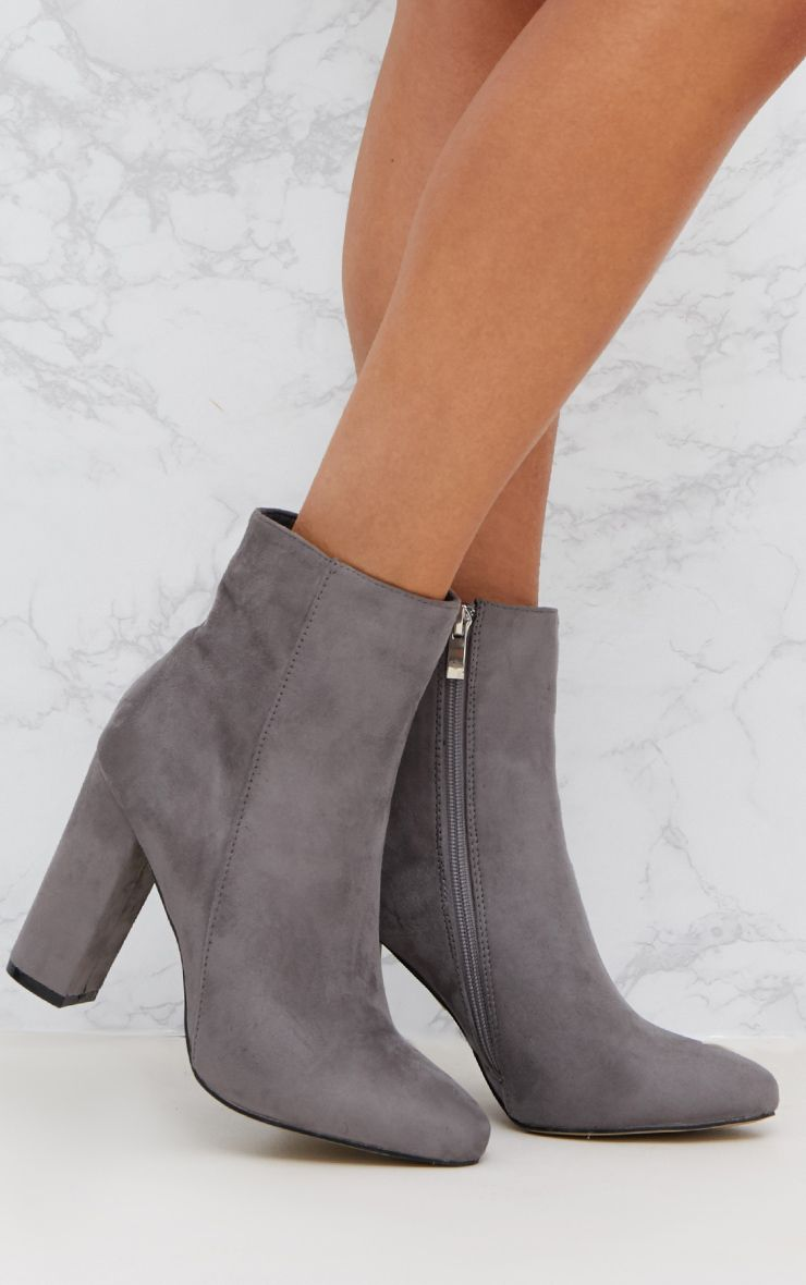 Grey Faux Suede Ankle Boots