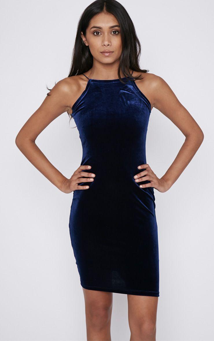 Elektra Navy Velvet Mini Dress 1