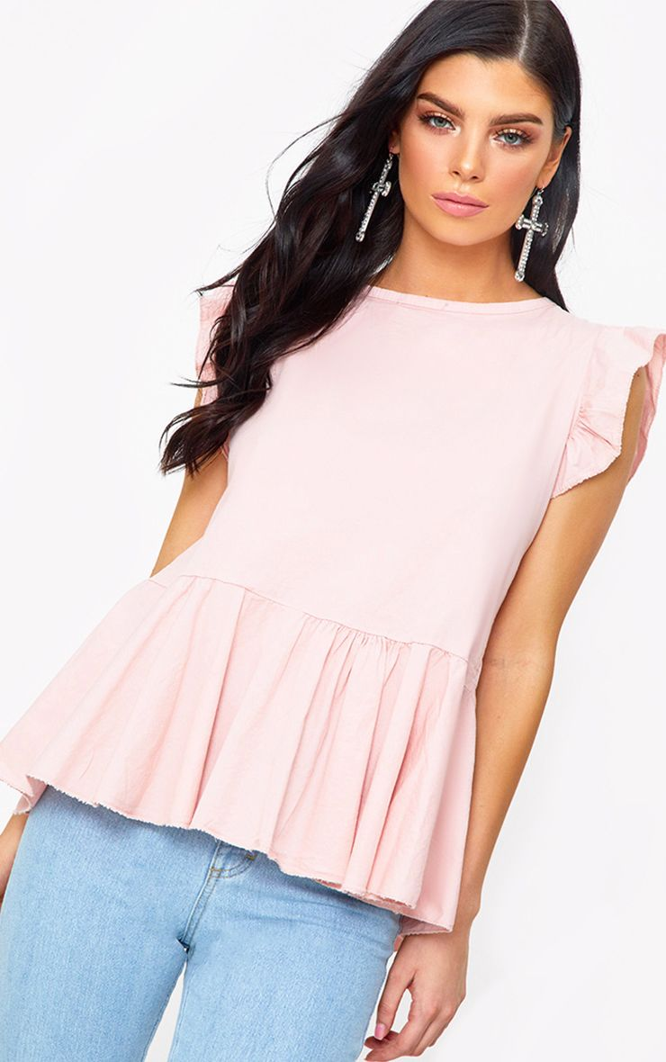 Pink Frill Shoulder Tie Back Shirt