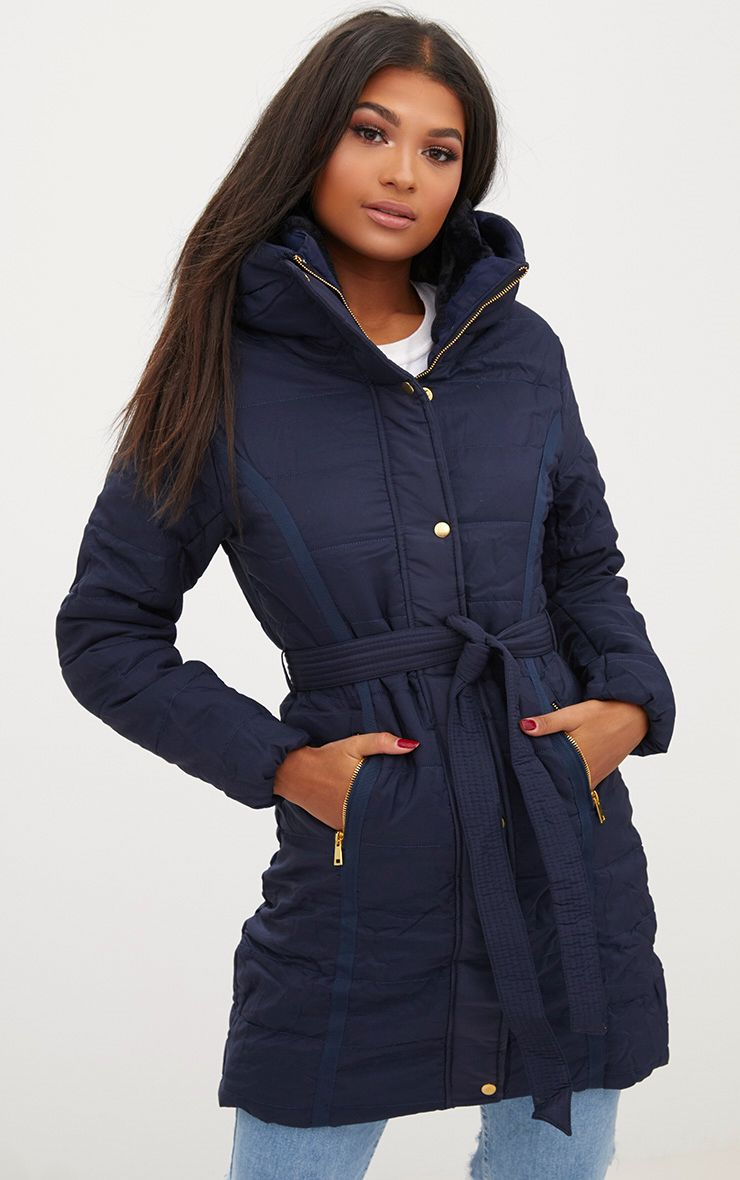 Navy Longline Belted Puffer Coat