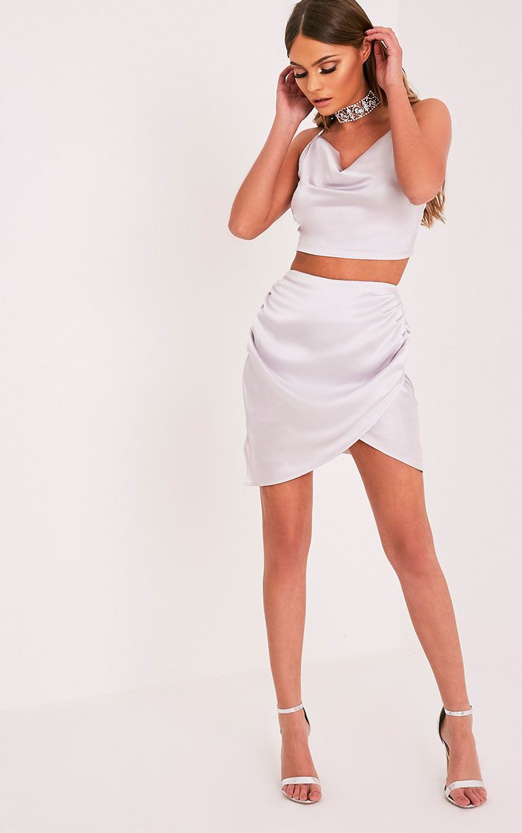 Aras Ice Grey Satin Ruched Mini Skirt 1