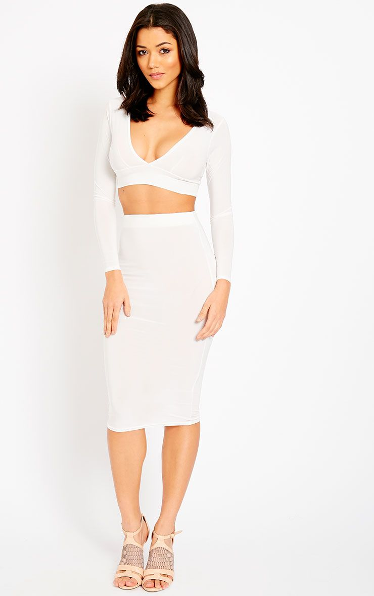 Ava Cream Slinky Midi Skirt 1
