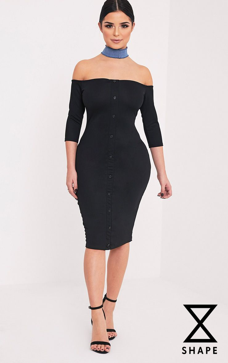 Shape Laurenna Black Bardot Button Midi Dress