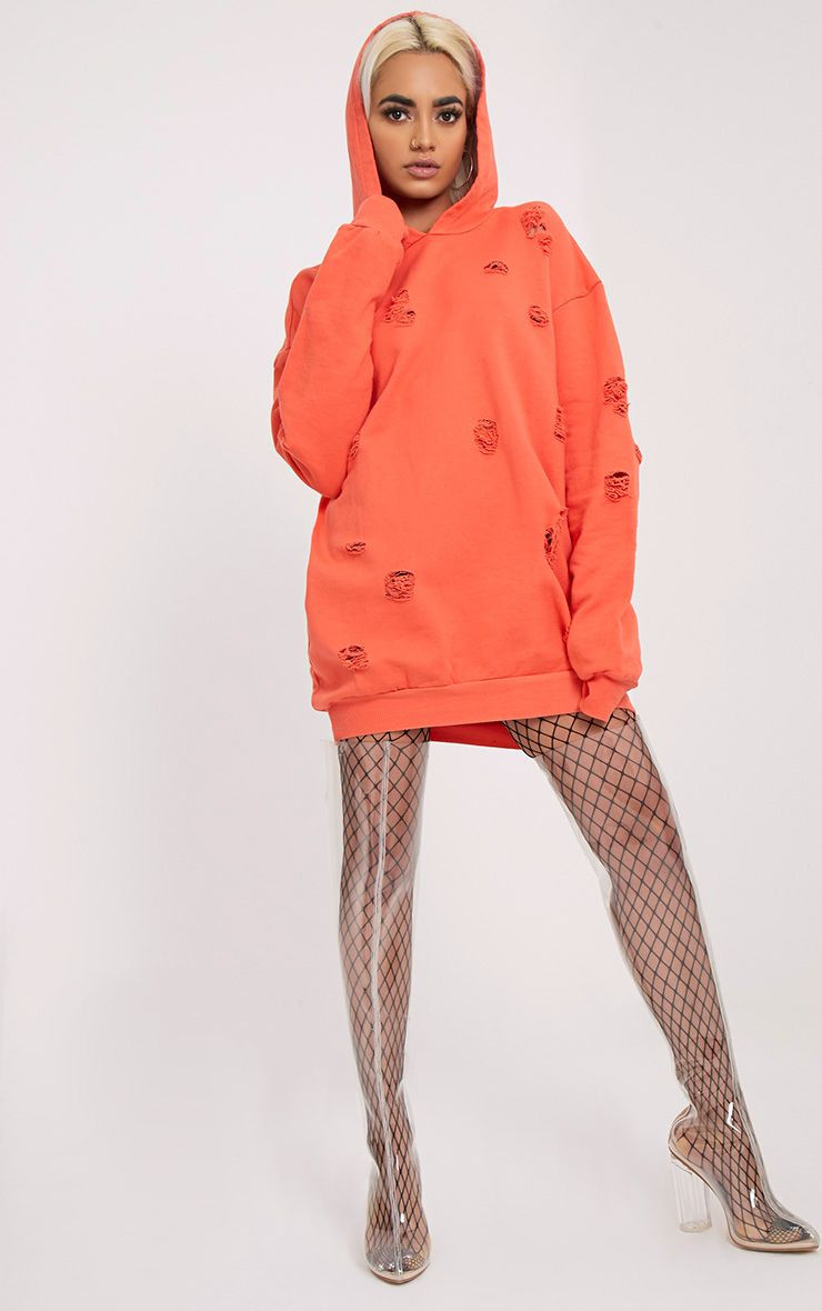 Raular Orange Distressed Hooded Sweater Dress