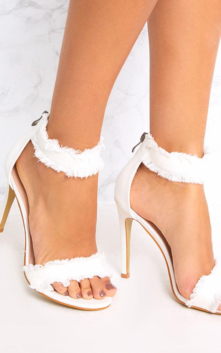 Christel White Frayed Denim Strappy Heels