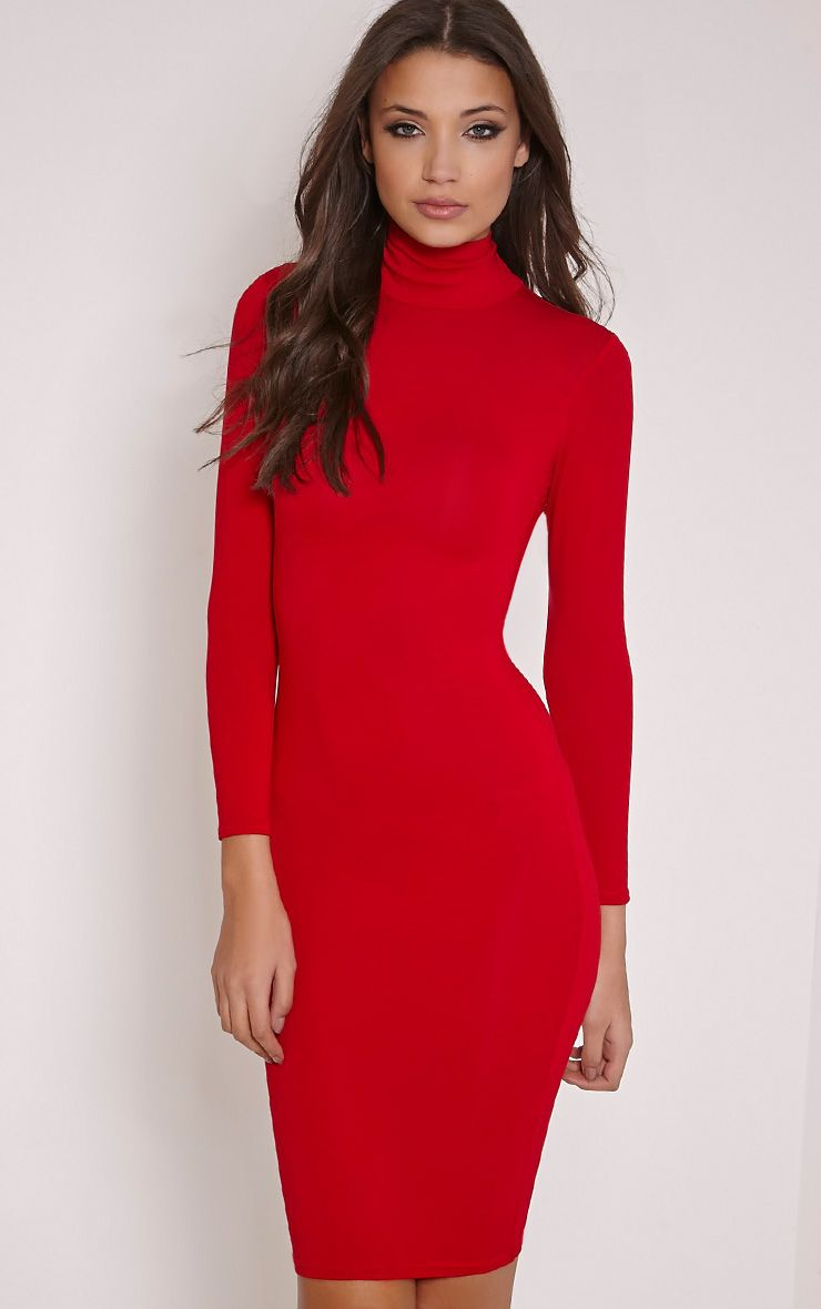Basic Red Roll Neck Midi Dress