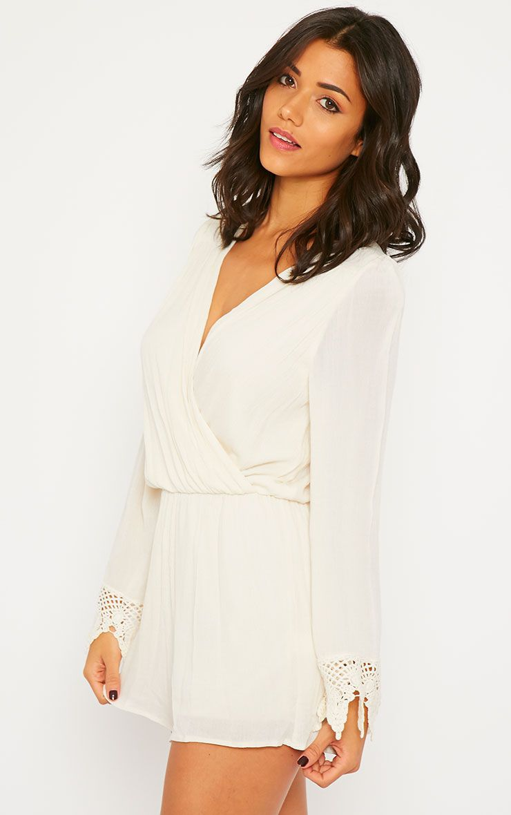 Marketta Cream Wrap Front Embroidered Cuff Playsuit 1