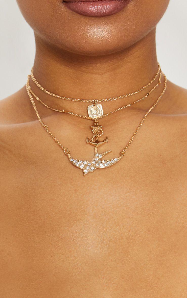 Gold Diamante Swallow Anchor Triple Layer Necklace