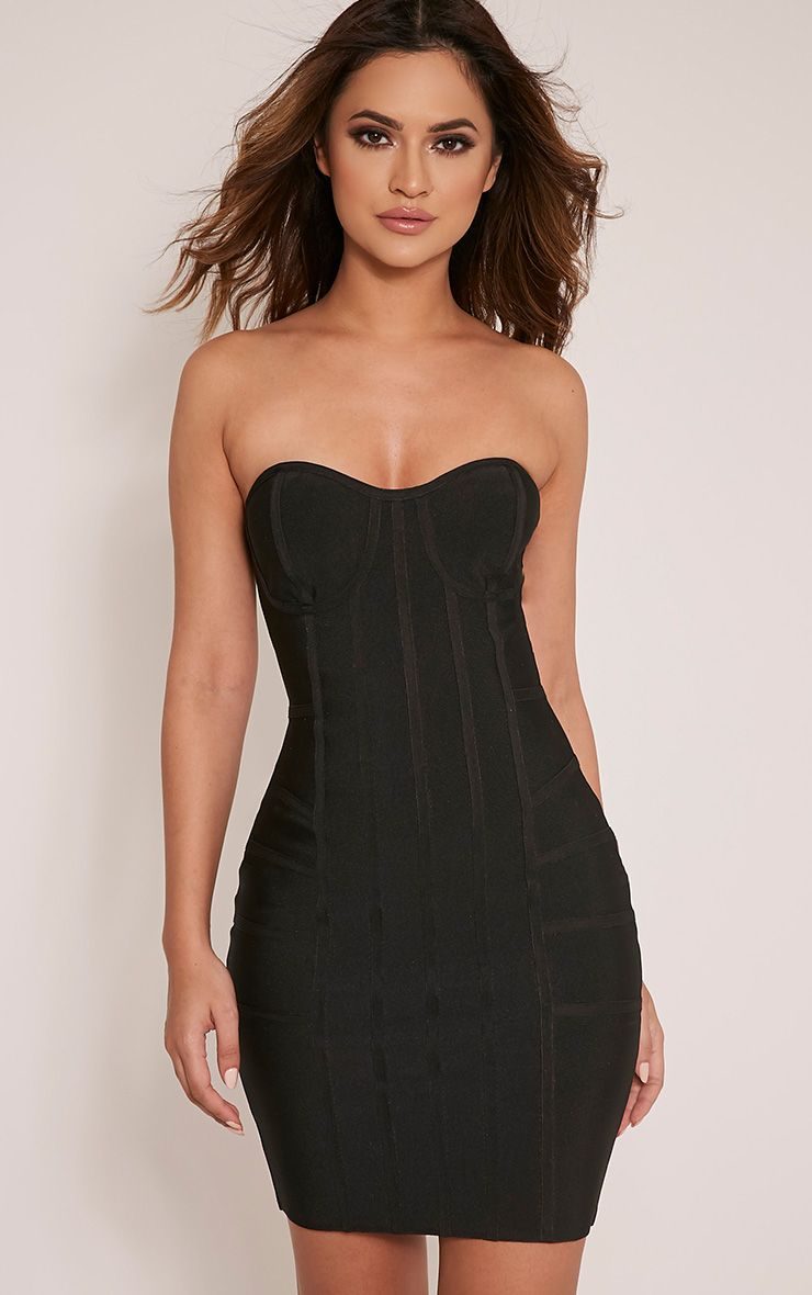 Cloe Black Bandage Panel Bodycon Dress