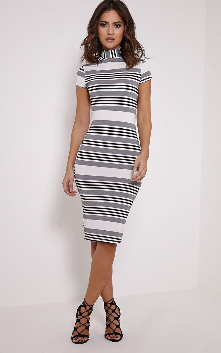 Kamala Black Monochrome Stripe Midi Dress 1