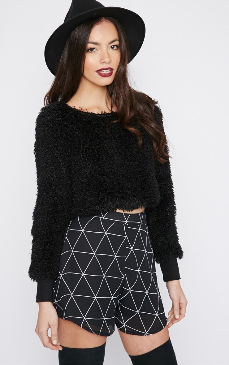 Monia Black Faux Fur Cropped Jumper  1