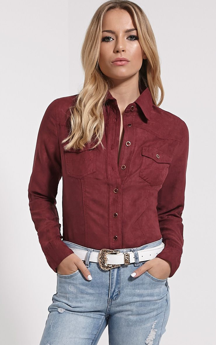 Asha Oxblood Faux Suede Fitted Shirt 1