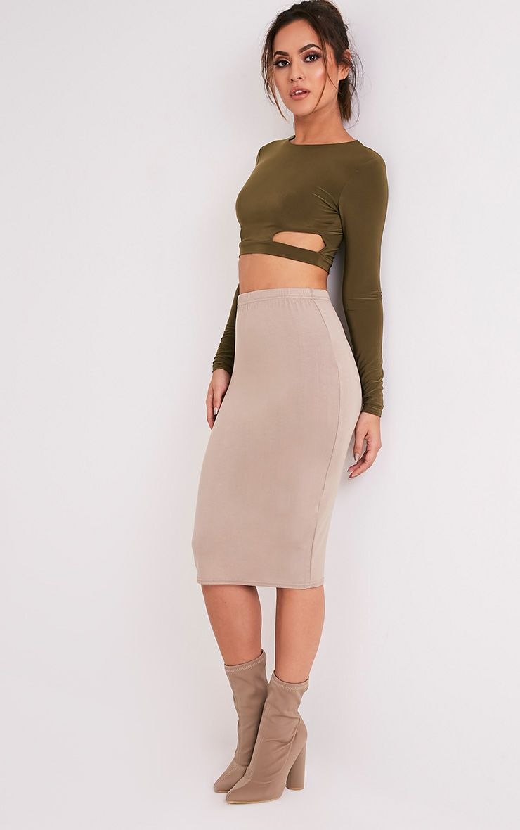 Basic Taupe Jersey Midi Skirt
