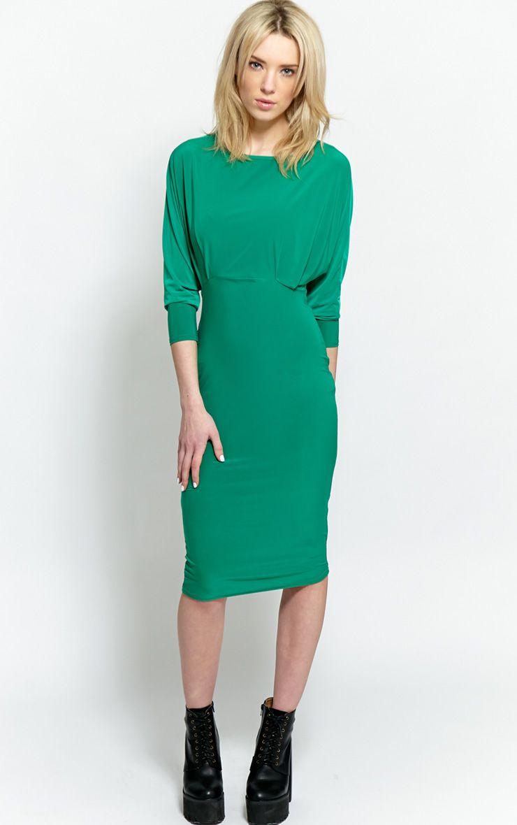 Eden Emerald Long Sleeve Midi Dress 1