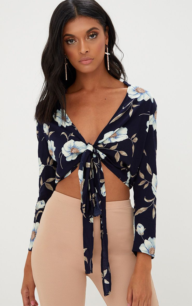 Navy Floral Print Tie Front Shirt