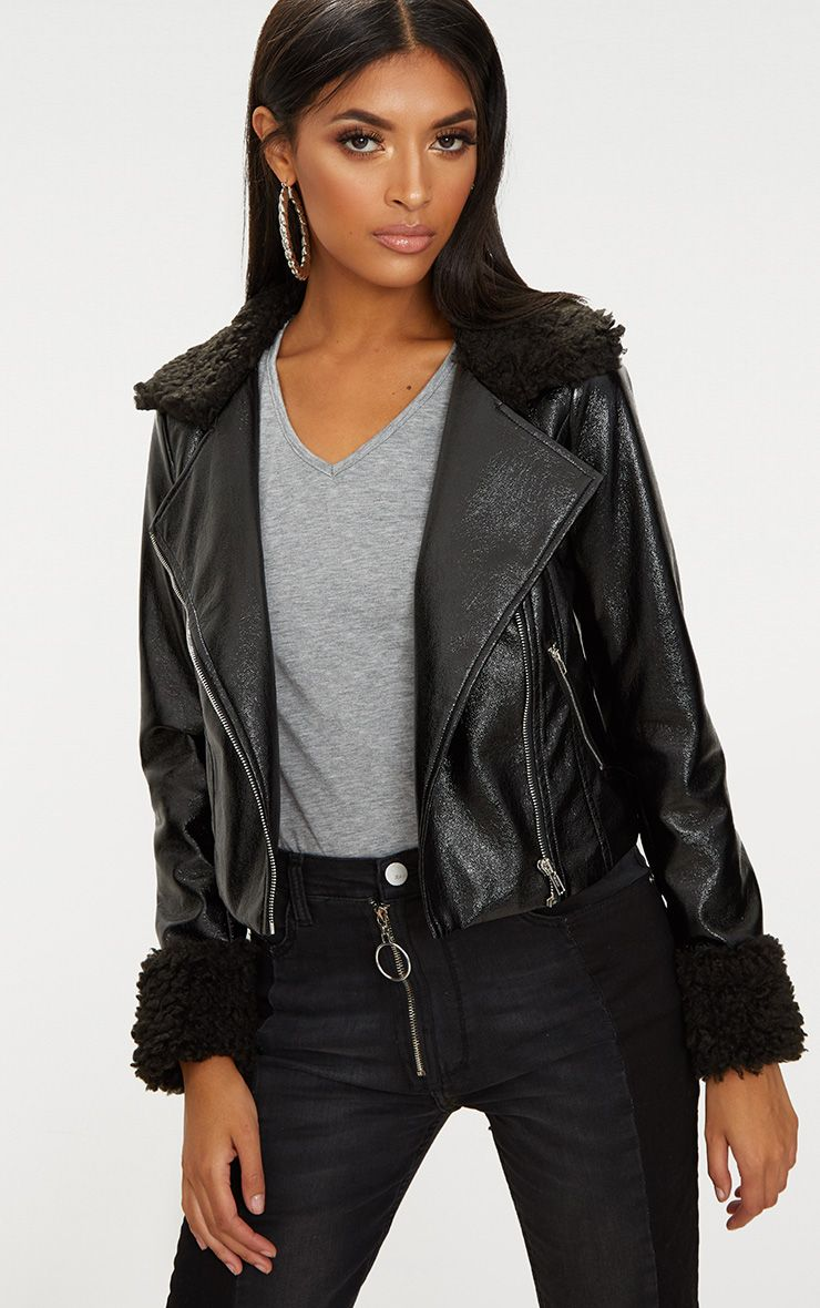 Black Vinyl Faux Fur Trim Biker