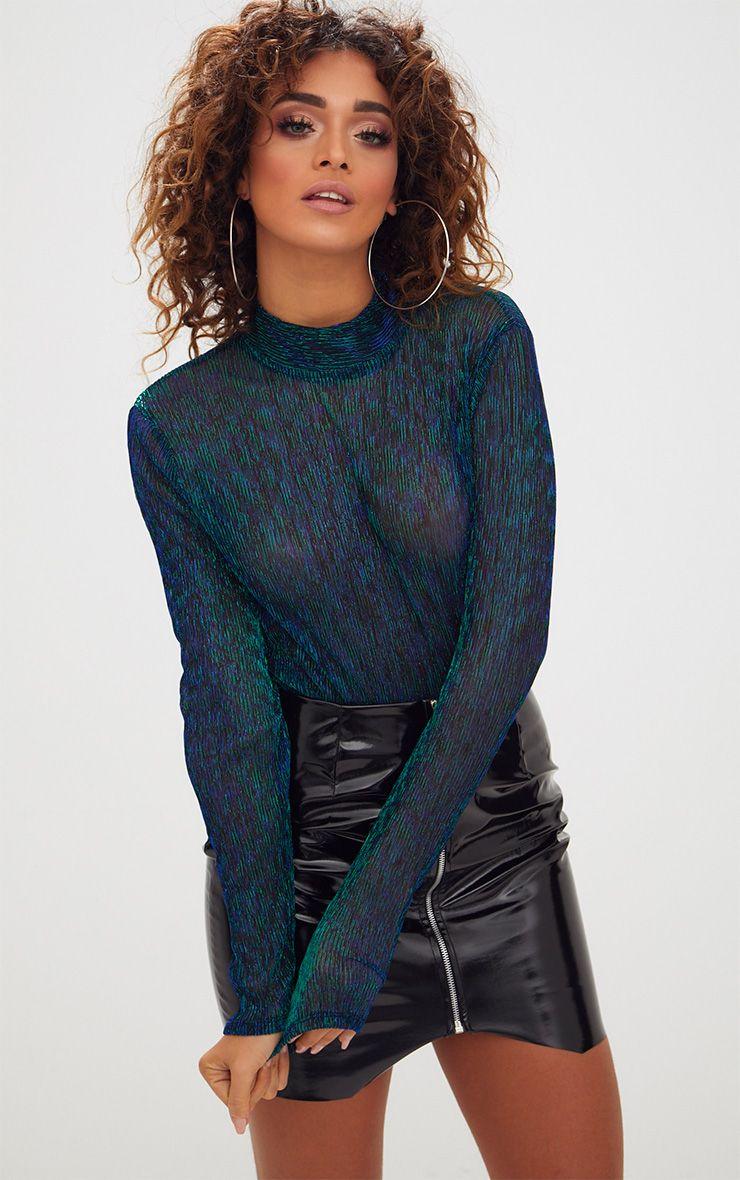 Green Sheer Metallic Longsleeve Thong Bodysuit