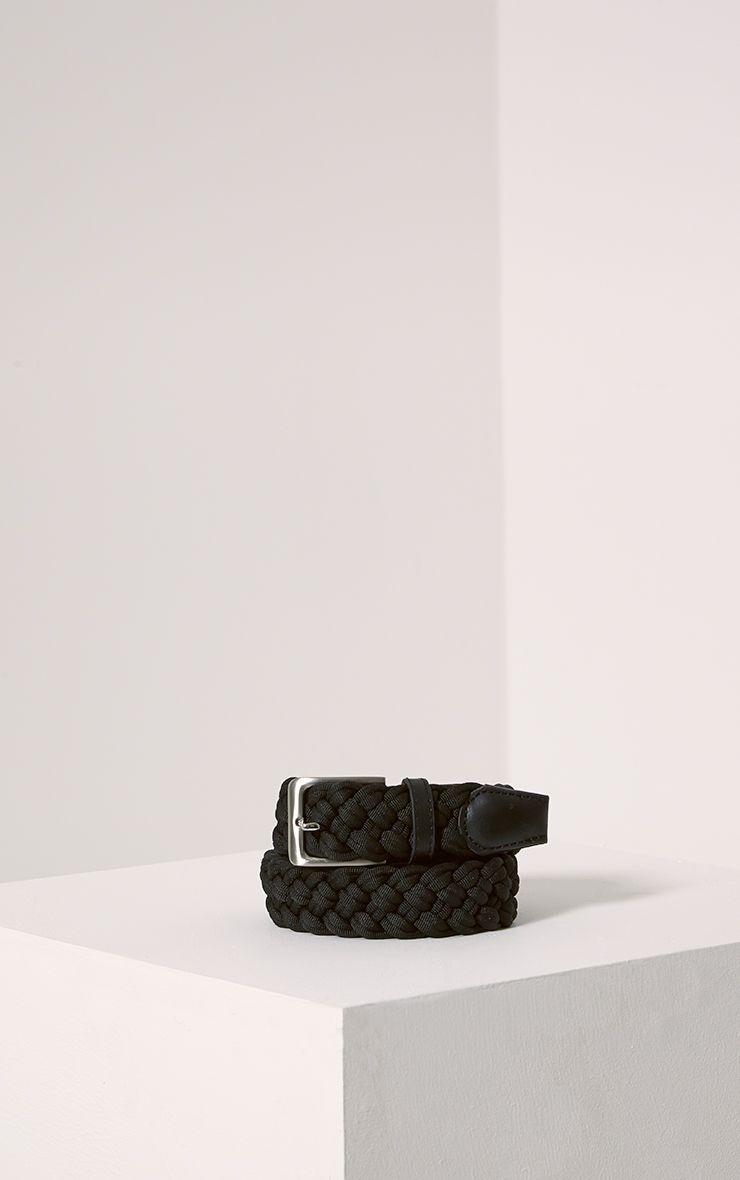 Hanne Black Plaited Woven Belt 1