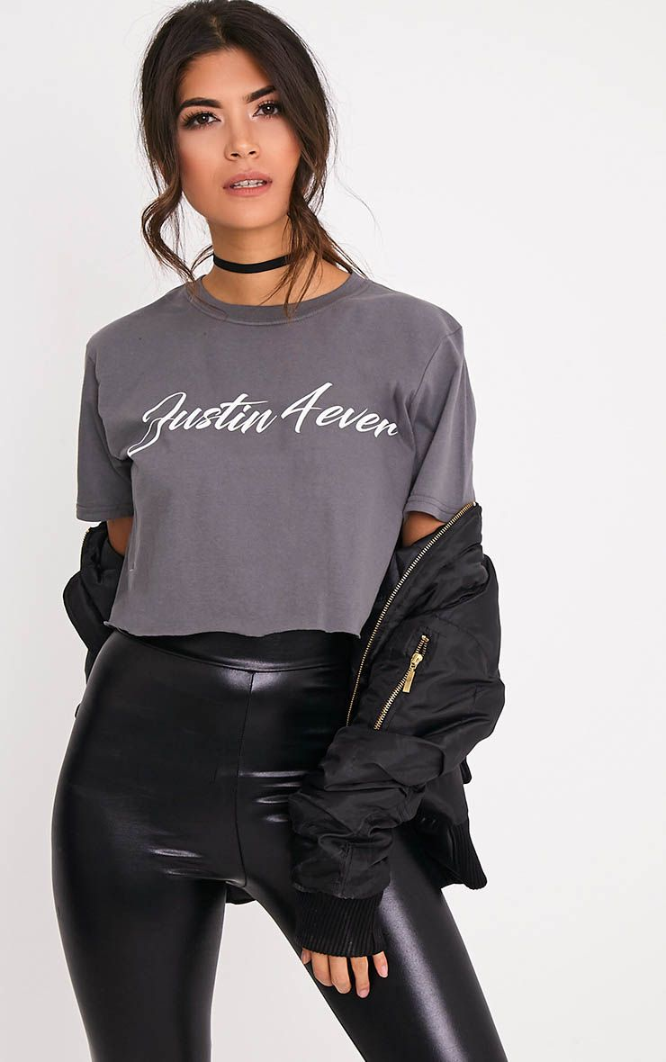 Justin 4ever Charcoal Slogan Oversized Crop T Shirt