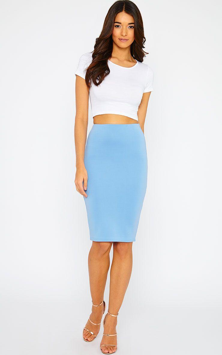 Winnie Powder Blue Scuba Midi Skirt 1