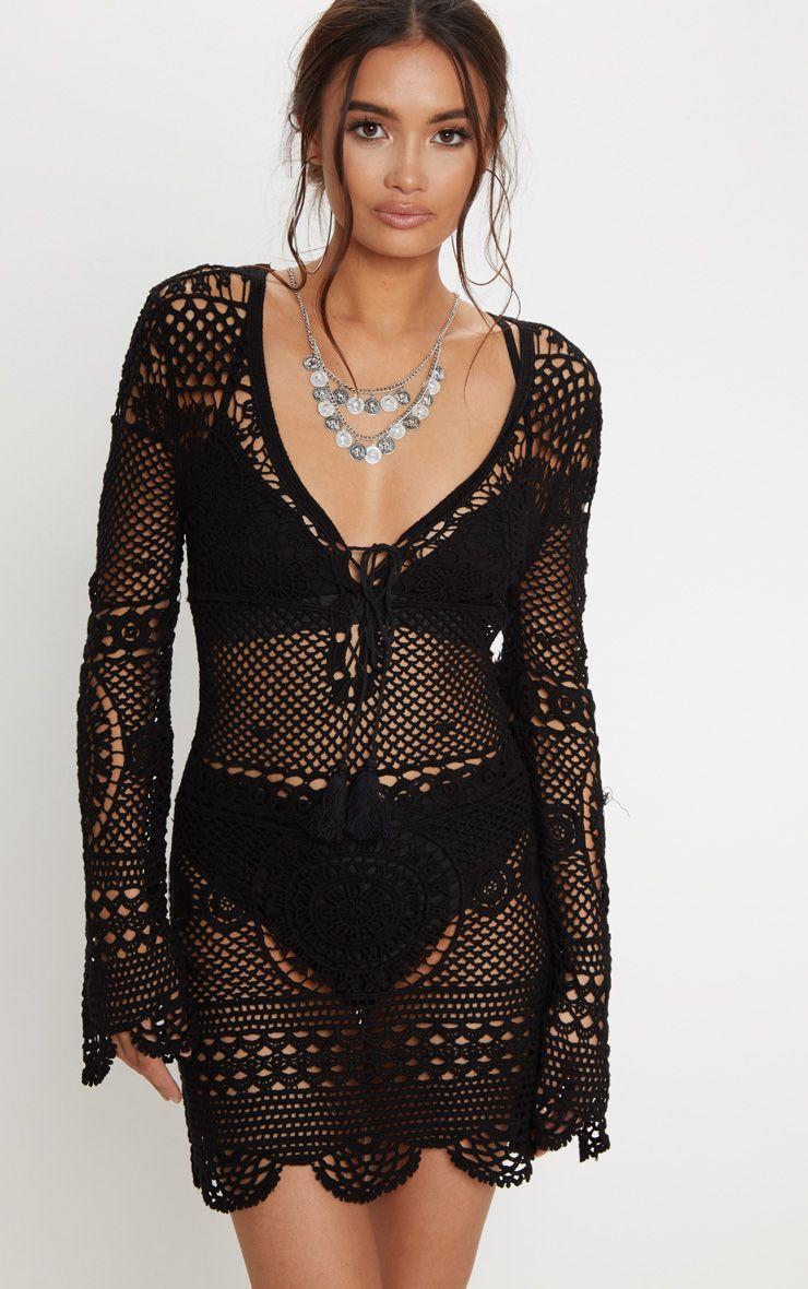 Black Crochet Cotton Dress
