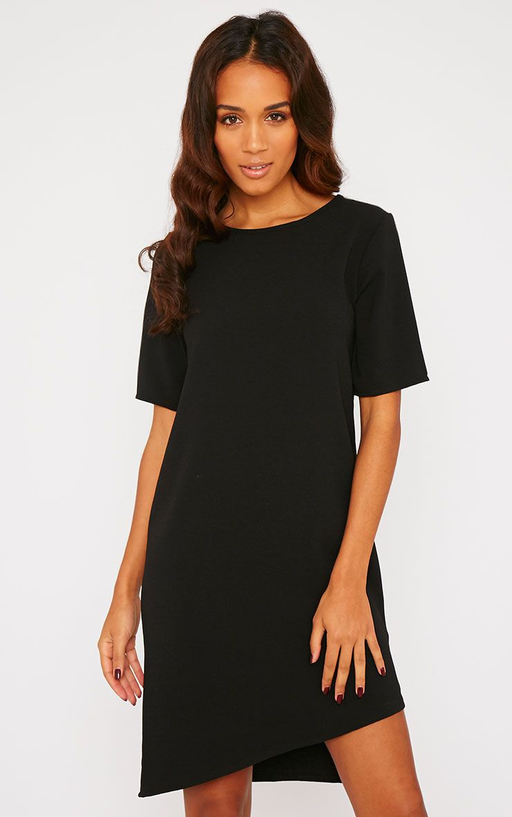Chante Black Crepe Loose Shift Fit Step Hem T-Shirt Dress 1
