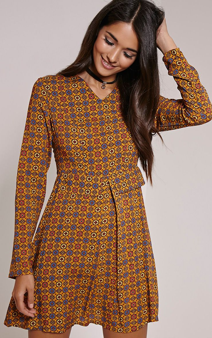 Rylah Orange Tile Print Dress 1