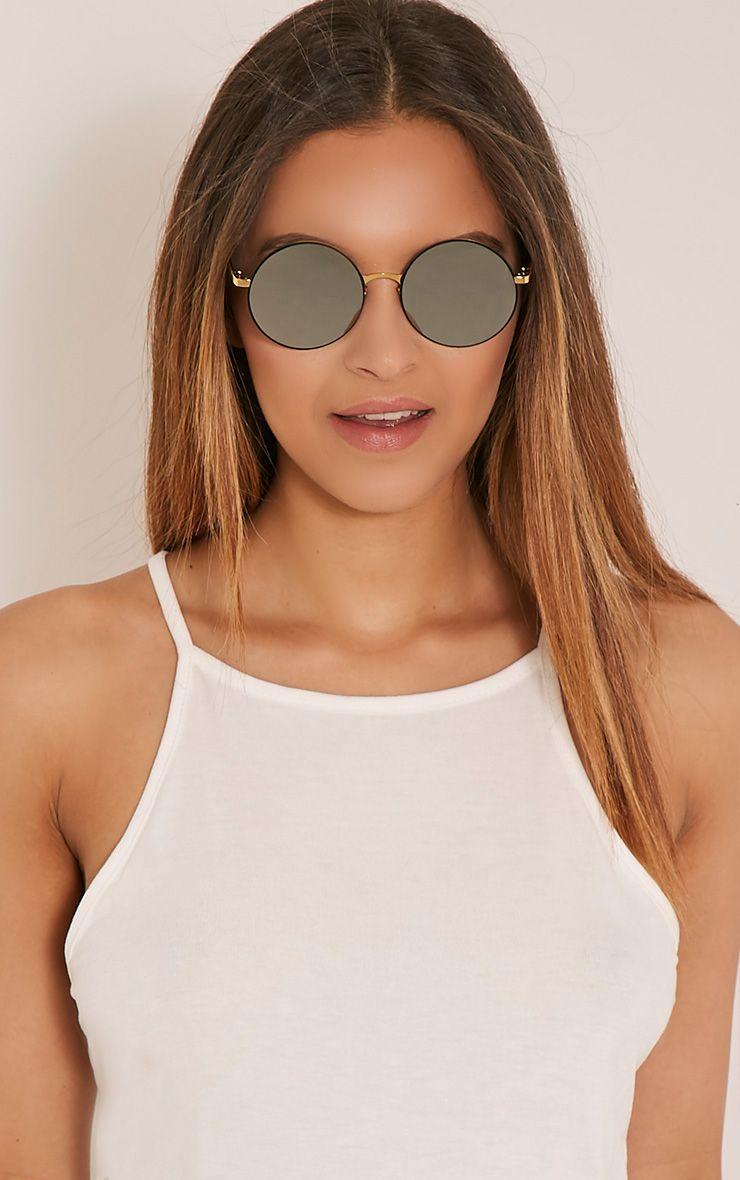 Gabi Black Round Frame Sunglasses Black