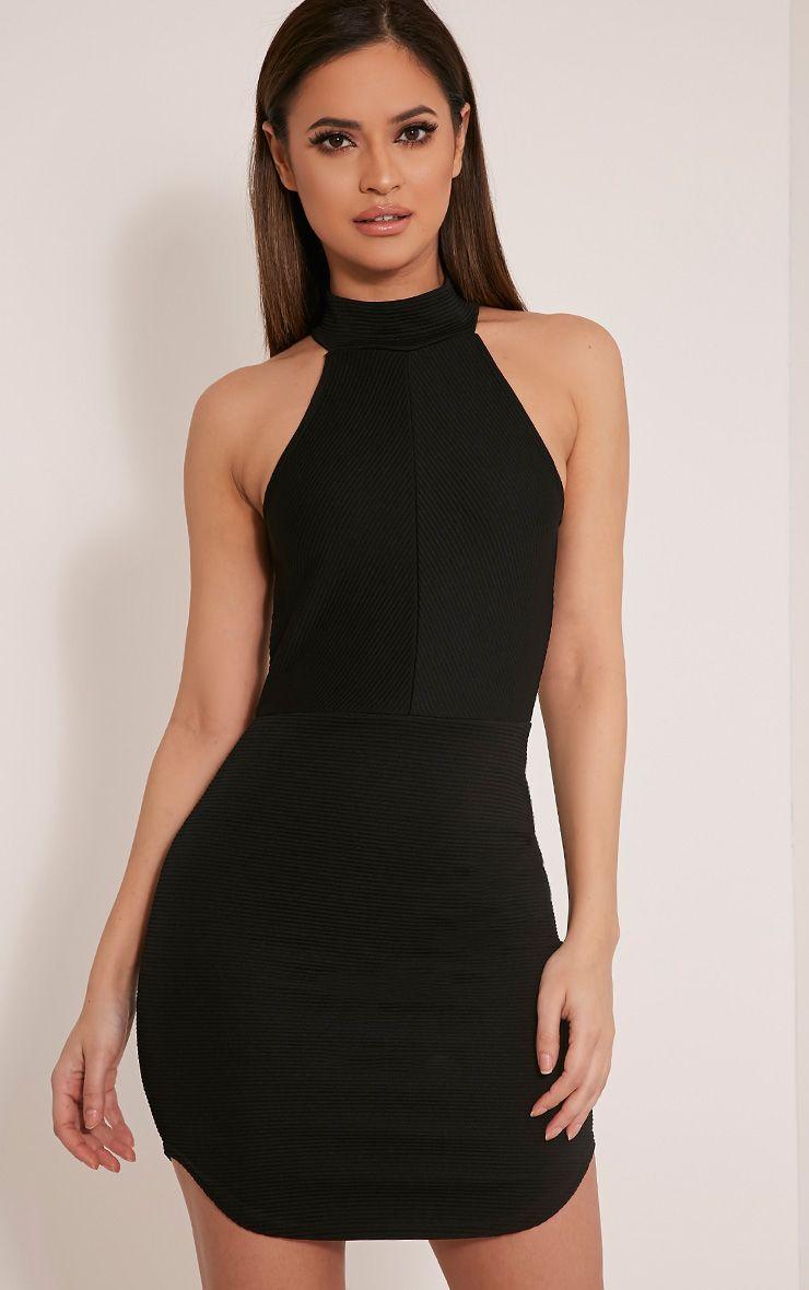 Kandice Black Racer Neck Ribbed Mini Dress 1