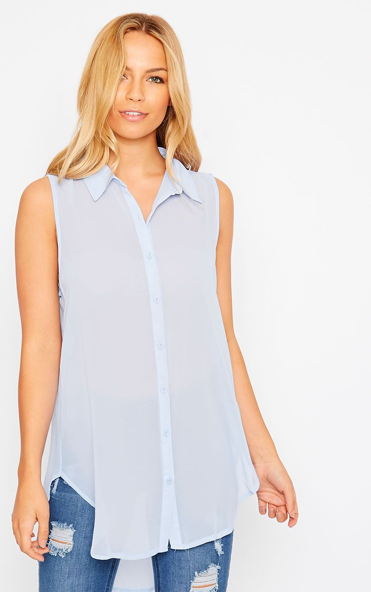 Kaley Powder Blue Sheer Shirt 1
