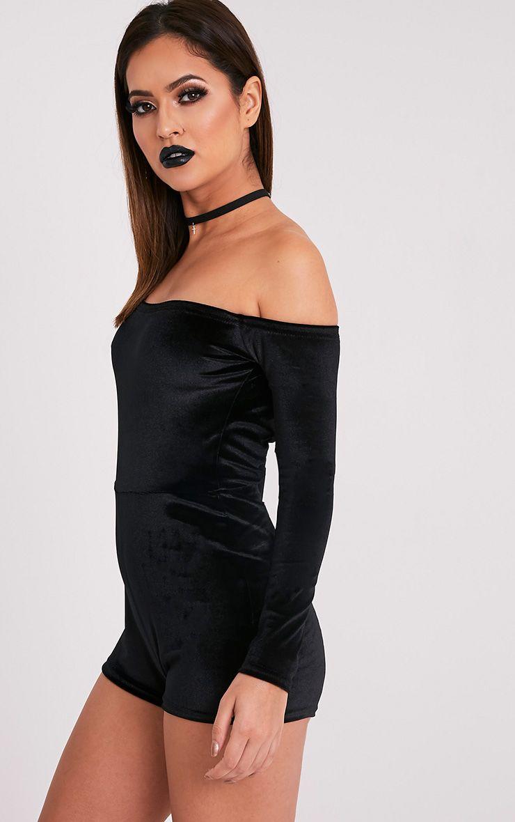 Elsea combishort bardot en velours noir 3